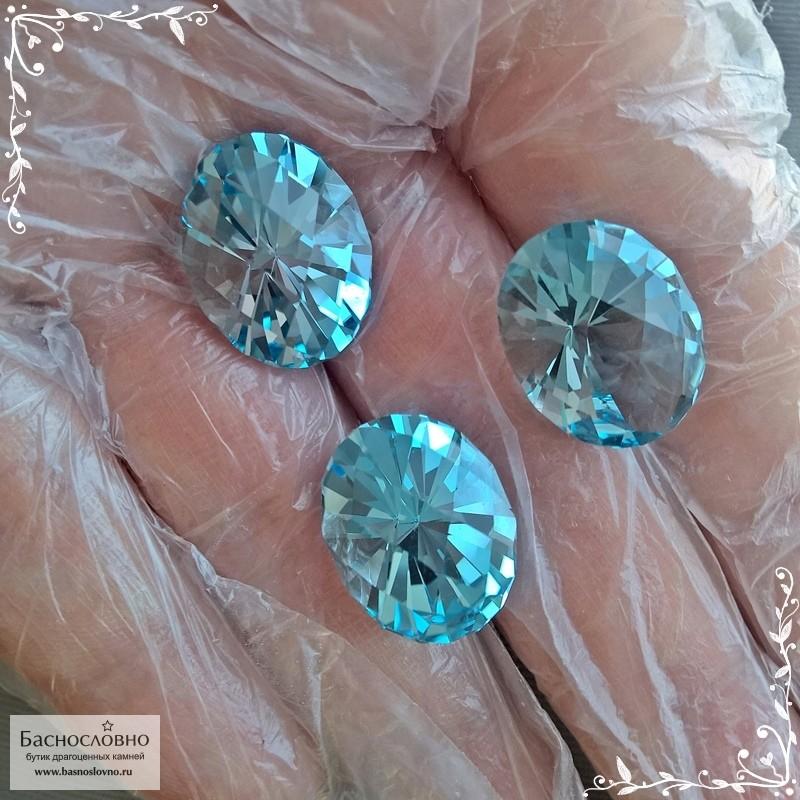 Гарнитур три небесно-голубых топаза (оттенок Sky blue) из Бразилии огранка Шахматный овал 18,84x14,76 18,72x14,74 18,65x14,74мм 58,58 карат (Драгоценный камень)