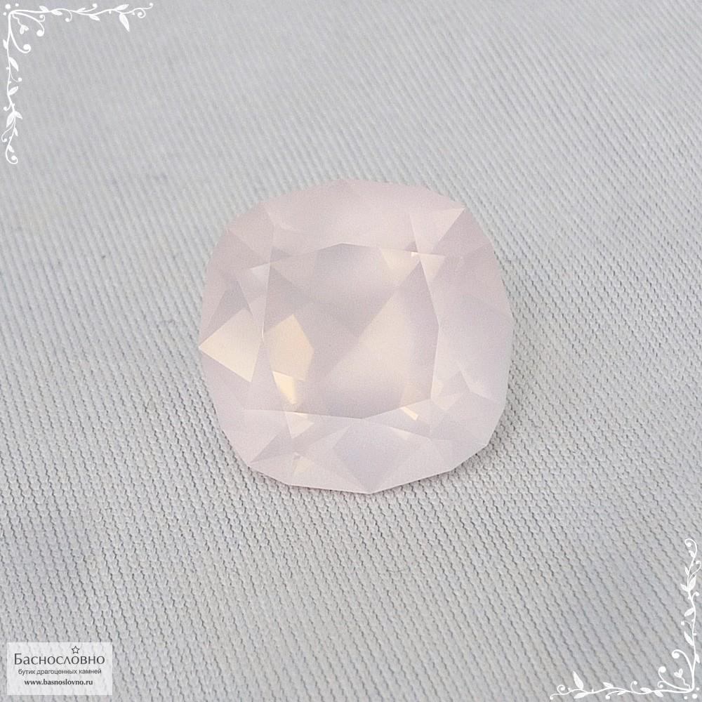 Пастельно-розовый кварц из Бразилии отличная огранка Баснословно антик 15,96x15,95мм 14,56 карат (Драгоценный камень)