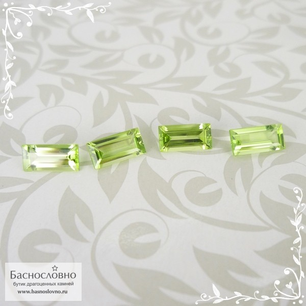 Гарнитур четыре светло-зелёных хризолита (перидот, оливин) из Мьянмы (экс-Бирма) огранка багет 7,94x3,93 7,94x3,96 7,85x3,89 7,88x3,88мм 3,33 карата (Драгоценный камень)