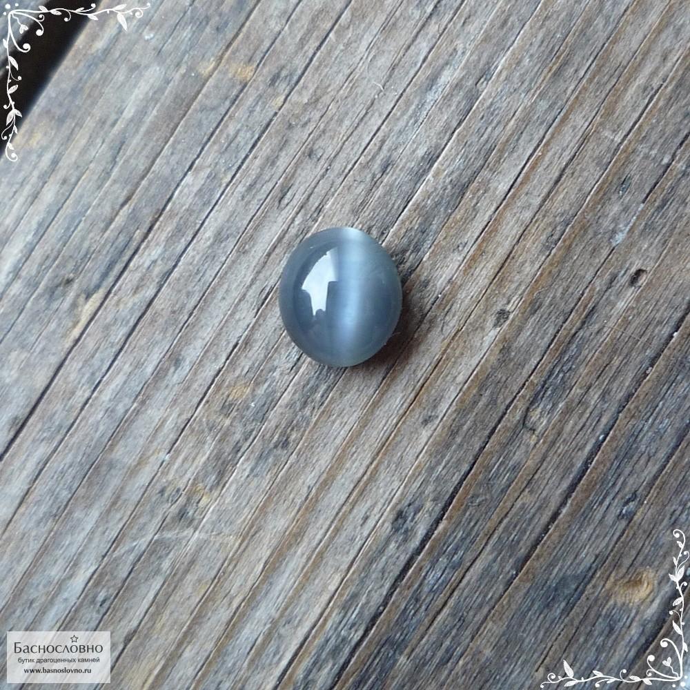 Сертифицированный зеленовато-серый хризоберилл (цимофан) из Шри-Ланки хорошая полировка овал кабошон 5,76×5,08 мм 0,99 карата (Драгоценный камень)