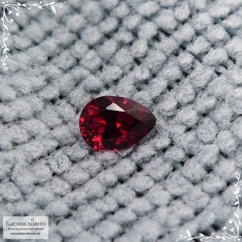Красная шпинель (лал) из Мьянмы (экс-Бирма) хорошей огранки груша 6,11x4,4мм 0,5 карата (Драгоценный камень)