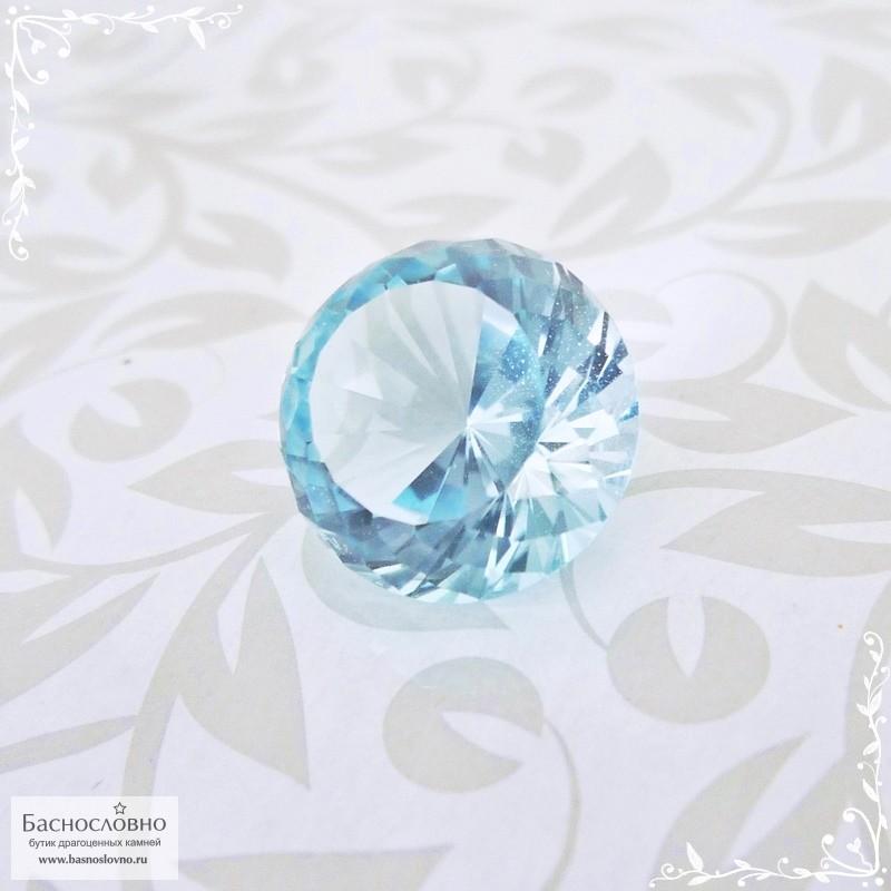 Небесно-голубой топаз (оттенок Sky blue) из Нигерии огранки смешанная португальская 13,06x12,94мм 10,81 карат (Драгоценный камень)