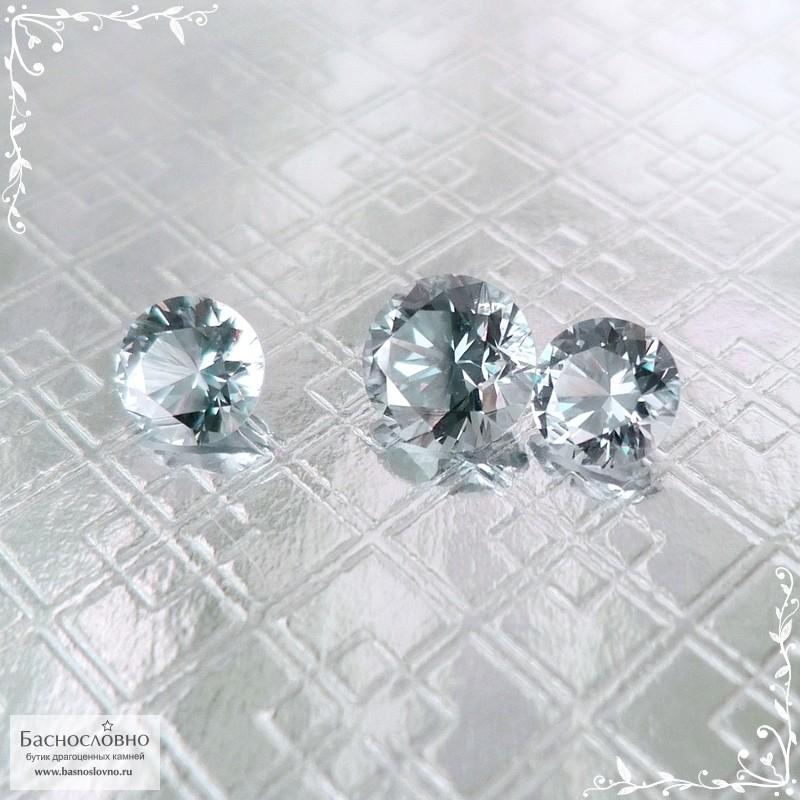 Гарнитур три серых шпинели из Танзании (Махенге) отличной огранки Баснословно бриллиантовый Кр57 круг 6 5,09x5,06 5,09x5,06мм 2,31 карата (Драгоценный камень)