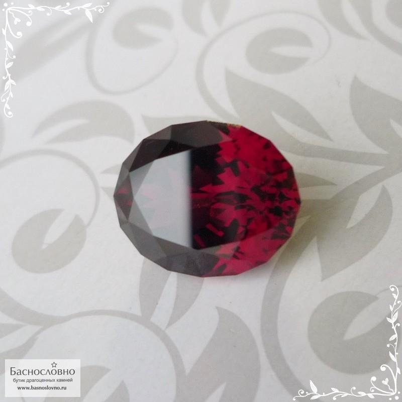 Красно-малиновый родолит из Танзании хорошей огранки Баснословно овал 11,72x9,52мм 6,06 карат (Драгоценный камень)