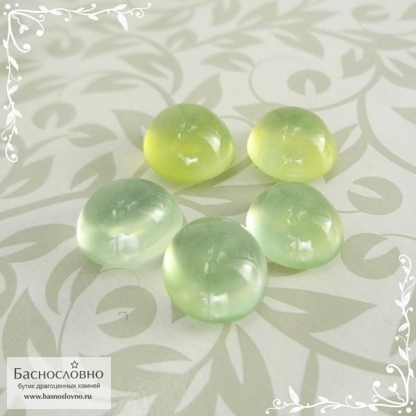 Гарнитур огуречно-зелёных пренитов из Австралии огранка овал кабошон 10x9мм 18,65 карат (Драгоценный камень)