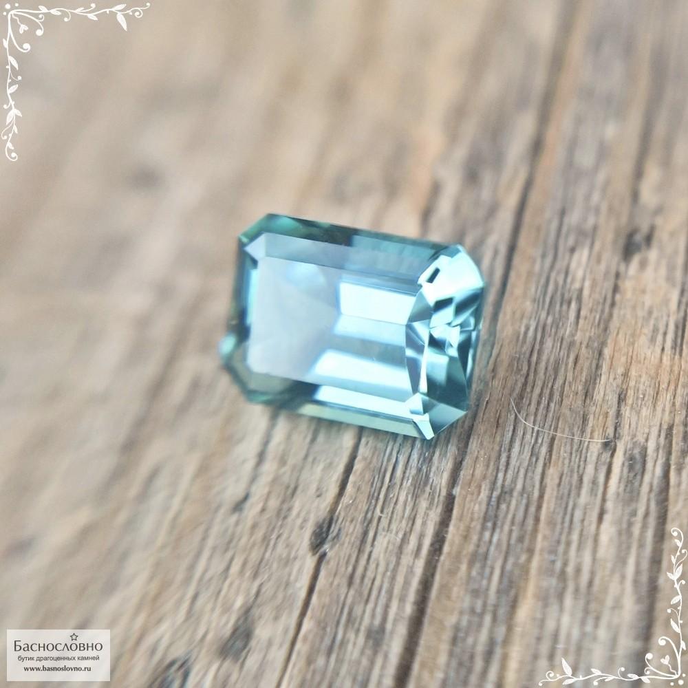 Сертифицированный зеленовато-голубой турмалин (индиголит, индиколит) из Афганистана отличной огранки в Баснословно октагон 5,54×4,13 мм 0,51 карата (Драгоценный камень)