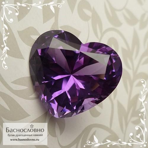 Насыщенный аметист из Бразилии (Байя) хорошая огранка в Баснословно сердце 19,06x17,32мм 18.75 карата (Драгоценный камень)