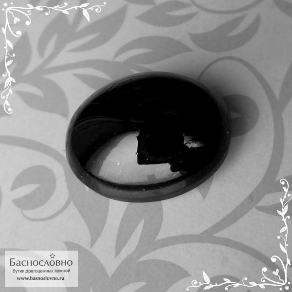 Чёрный гранат из США овал кабошон 16,98x14,12мм 21,67 карат (Драгоценный камень)