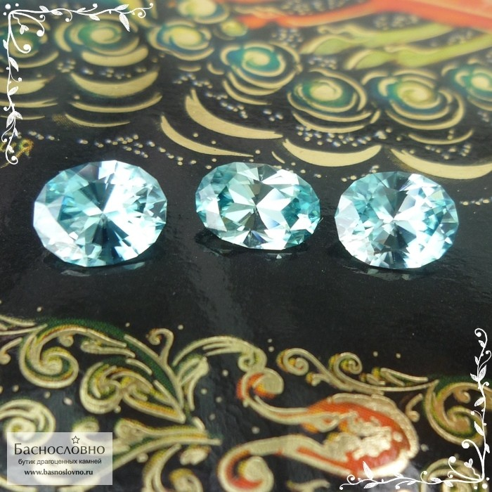 Гарнитур три бирюзовых циркона (старлита) из Камбоджи отличная огранка Баснословно овал 9,07x6,04 8,86x7,04 8,9x6,97мм 6,73 карат (Драгоценный камень)