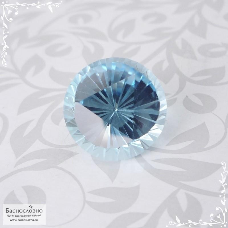Небесно-голубой топаз (оттенок Sky blue) из Нигерии отличной огранки в Баснословно круг Лотос 14,1мм 13,94 карат (Драгоценный камень)