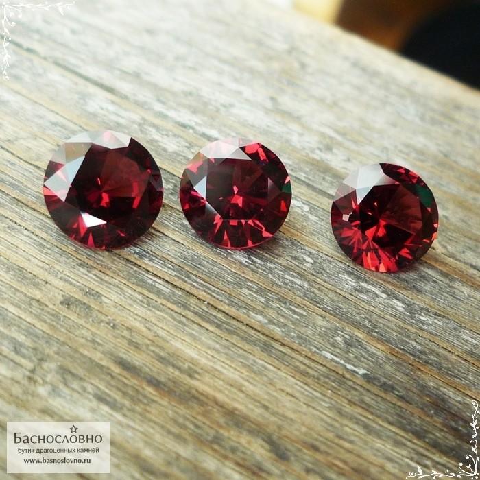 Гарнитур три ярко-красных граната (альмандин) из Мозамбика отличной огранки Баснословно бриллиантовая Кр57 8, 8,08 и 8,05мм 7,05 карат (Драгоценный камень)