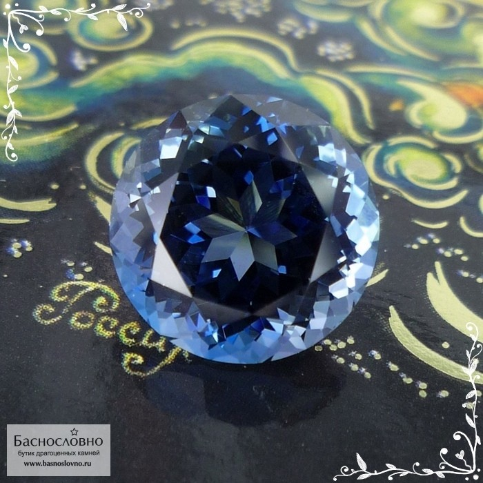 Синий топаз (оттенок London blue) из Бразилии отличная огранка в Баснословно круг 13мм 11,63 карата (Драгоценный камень)