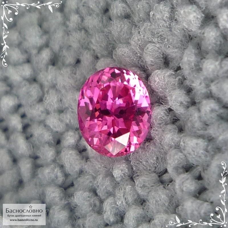 Сертифицированная красно-розовая шпинель (лал) из Танзании (Махенге) хорошая огранка в Баснословно овал 5,95x4,84мм 0,75 карата (Драгоценный камень)