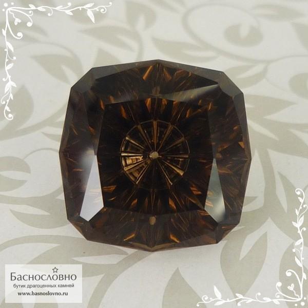 Тёмно-коричневый дымчатый кварц (раухтопаз) из Бразилии авторская огранка Баснословно антик с вогнутым шипом 18мм 23,16 карат (Драгоценный камень)