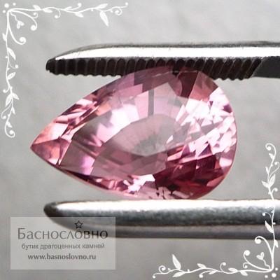 Сертифицированный насыщенно-розовый турмалин из Нигерии огранка груша 11x9мм 4.08 карата (Драгоценный камень)