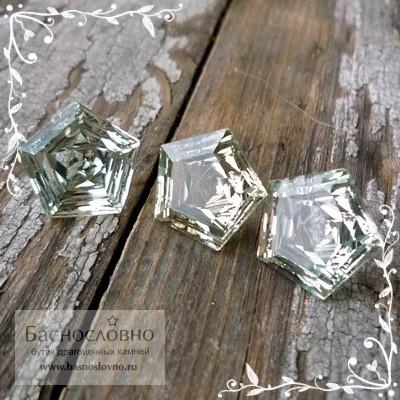 Гарнитур Пастельно-зелёных аметистов (празиолитов) из Бразилии огранка Знак качества 13мм 15,85 карат (Драгоценный камень)