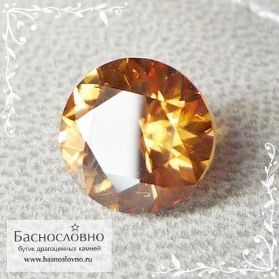 Оранжево-золотистый циркон (гиацинт) из Шри-Ланки хорошая огранка в Баснословно 7,8мм 2.73 карата (Драгоценный камень)