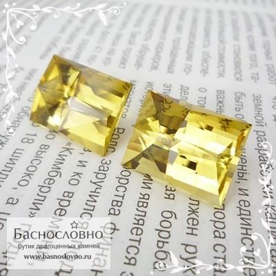 Пара ярко-жёлтых цитринов из Замбии отличная огранка Баснословно прямоугольник Компас 18,5x14мм 42.8 карата