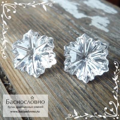 Пара горных хрусталей (бесцветный кварц) из Бразилии отличная огранка Цветок в Баснословно 15мм 19.01 карат (Драгоценный камень)