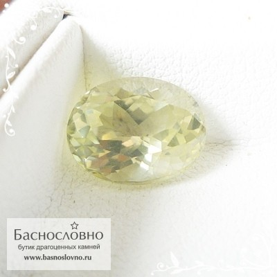 Желтовато-зелёный силлиманит из Шри-Ланки хорошая огранка овал 10,69x8,4мм 3.84 карата (Драгоценный камень)