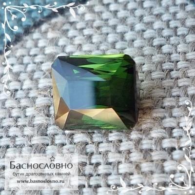 Тёмно-зелёный турмалин (верделит) из Мозамбика огранки октагон 6,75x5,98мм 1.65 карат (Драгоценный камень)