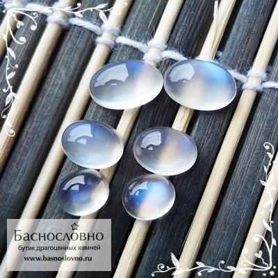 Гарнитур шесть лунных камней (адуляр) из Танзании с синей адуляресценцией огранка Баснословно кабошон 11,6x7,6 11,46x7,62 9,72x7,34 9,67x7,38 7,96x6,78 7,92x6,76 мм 13.34 карат (Драгоценный камень)