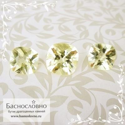 Гарнитур три лимонно-жёлтых ортоклаза из Мьянмы (Бирма) огранки антик 11,7мм и пара 10,1мм 10.66 карат (Драгоценный камень)