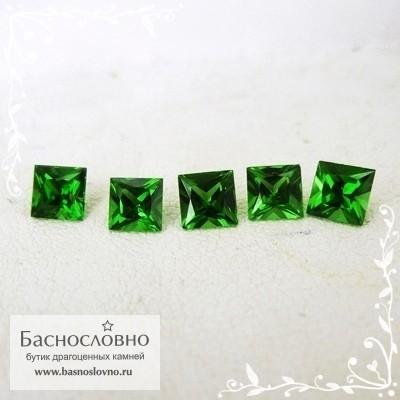 Гарнитур пять ярко-зелёных хромтурмалинов из Танзании хорошей огранки Баснословно квадрат Принцесса 4,2 4,1 3,9 4,01 3,84мм 1.9 карата (Драгоценный камень)