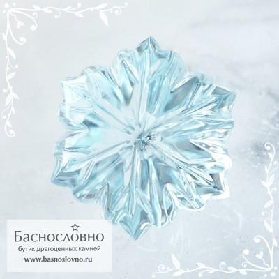 Небесно-голубой топаз (оттенок Sky blue) ручная авторская огранка в Баснословно Цветок 18мм (Драгоценный камень)