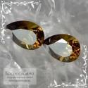 Пара сертифицированных коричнево-зелёных Топазолитов (андрадит) из России бриллиантовой игры отличной огранки груша 7,5x5,5мм 2.37 карата