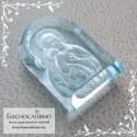Резная Икона Владимирской Божией Матери на небесно-голубом топазе (оттенок sky blue) работы в Баснословно арка 16x12мм