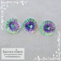 Гарнитур три мистик топаза (радужных) из Бразилии огранка вогнутыми гранями Миллениум круг 12,13 12,1 12,04мм 24.25 карата