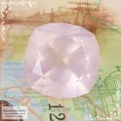 Пастельно-розовый кварц из Бразилии отличная огранка Баснословно антик 15,96x15,9мм 15,94 карат (Драгоценный камень)