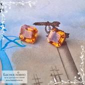Гарнитур оранжевых Спессартинов (оттенок Фанта) из Танзании огранка пара овалов 6x5мм и круг 6мм 2.81 карат