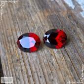 Пара насыщенно-красных гранатов (альмандины) из Танзании хорошая огранка Баснословно овал 10,06×8,18 10,1×8,23 мм 6,47 карат (Драгоценный камень)