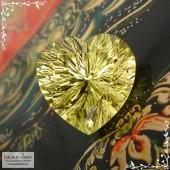 Лимонно-жёлтый цитрин из Замбии отличной огранки Баснословно фантазийное сердце 16,03x16,01 12,17 карат (Драгоценный камень)