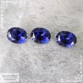 Гарнитур насыщенно-синих иолитов (кордиеритов) из Танзании отличная огранка Баснословно овал 10,77x8,29 10,67x8,26 10,69x8,26мм 7,57 карат (Драгоценный камень)