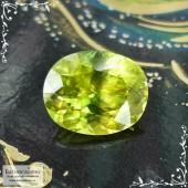 Желтовато-зелёный сфен (титанит) из Афганистана хорошей огранки овал 9,18x7,41мм 2,49 карата (Драгоценный камень)