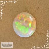 Благородный белый опал из Эфиопии хорошая огранка круг 15,5мм 9,53 карат (Драгоценный камень)