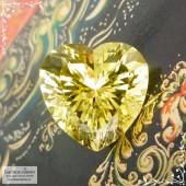 Лимонно-жёлтый цитрин из Замбии отличной огранки Баснословно сердце 16,05x16,03 11,95 карат (Драгоценный камень)