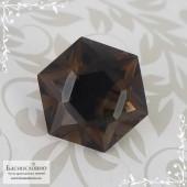 Тёмно-коричневый раухтопаз (дымчатый кварц, раух топаз) из Бразилия отличная огранка Баснословно Звезда Давида (Щит, Маген Давид) 16мм 12,16 карат (Драгоценный камень)