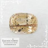 Необычный золотистый кварц волосатик из Бразилии огранка овал 18x13мм 11.9 карат (Драгоценный камень)