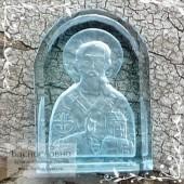 Резная Икона Святитель Николай Чудотворец на небесно-голубом топазе работы в Баснословно арка 14x10мм 5.1 карат (Драгоценный камень)