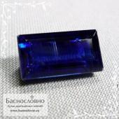 Уникальный бархатно-синий кианит (дистен) из Непала огранка багет 15x8мм 9.41 карат (Драгоценный камень)