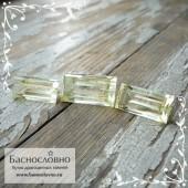 Гарнитур три благородных зелёных берилла из России отличной огранки Баснословно багет 18x9,5мм и пара 16x8мм 22.88 карата (Драгоценный камень)