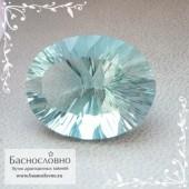 Неоновый зелёно-голубой флюорит (флуорит) из США хорошая огранка вогнутые грани (concave) 20x15мм 19.56 карат (Драгоценный камень)