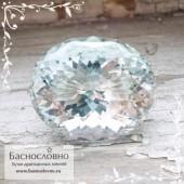Голубой Аквамарин из Украины (Волынь) отличной огранки овал 27x22,5мм 50.8 карат (Драгоценный камень)