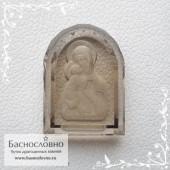 Резная Икона Владимирской Божией Матери на дымчатом кварце (раухтопаз) в Баснословно 16x12мм (Драгоценный камень)
