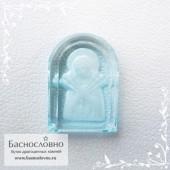 Резная икона Божьей Матери Семистрельная на небесно-голубом топазе работы Баснословно арка 15,77x11,37мм (Драгоценный камень)