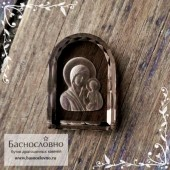 Резная Икона Казанской Божией Матери на дымчатом кварце (раухтопаз) работы Баснословно арка 17x12мм (Драгоценный камень)